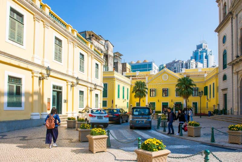 Macau - 15 de janeiro de 2018: Arquitetura colonial portuguesa no miliampère foto de stock royalty free