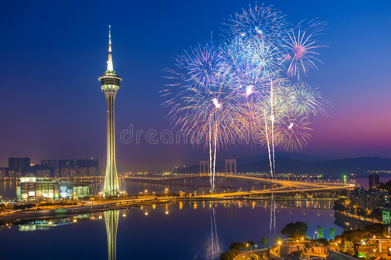 Macau Fireworks China royalty free stock images