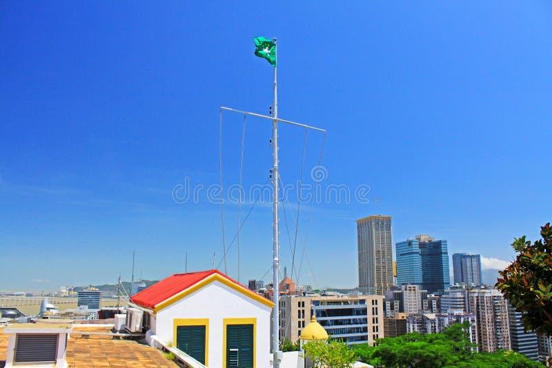 Macau Flag and Cityscape, Macau, China stock photography