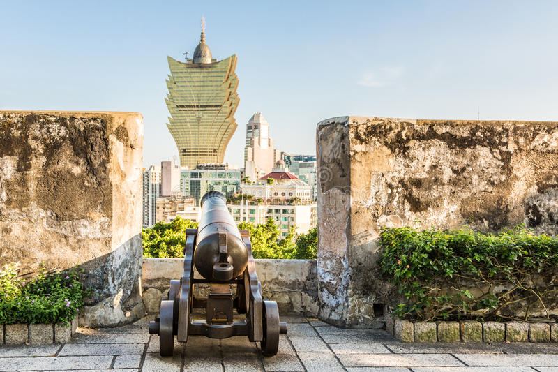 Macau fort and casinos royalty free stock photography