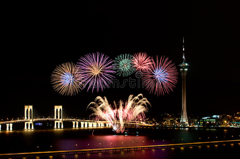 Macau International Fireworks royalty free stock image