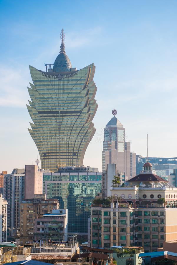Macau - January 15, 2018 :The cityscape of Macau view from the M stock image