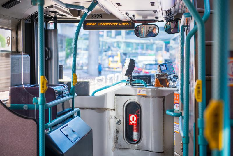 Macau - January 15, 2018 :Inside of public bus in Macau stock images