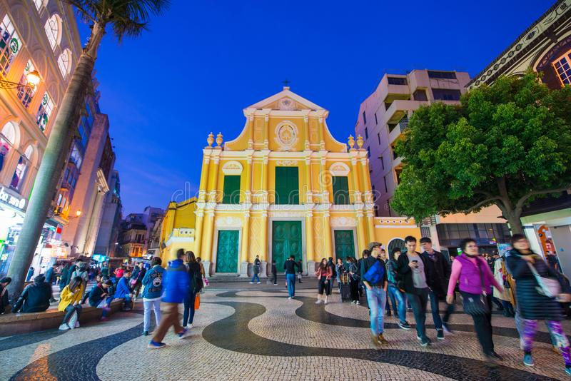 Macau - January 15, 2018 :St. Dominic`s Yellow Church at Senado royalty free stock photo