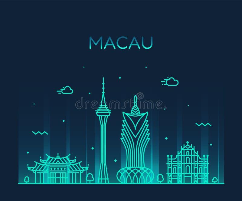 Macau linia horyzontu Peopl s republiki Porcelanowy wektorowy liniowy ilustracji