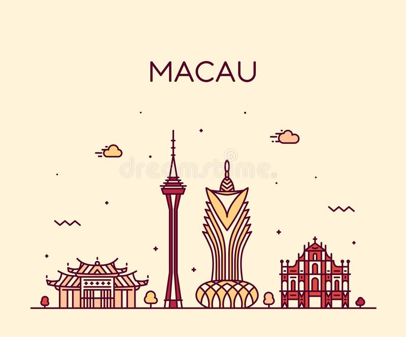 Macau linia horyzontu Peopl s republiki Porcelanowy wektorowy liniowy royalty ilustracja