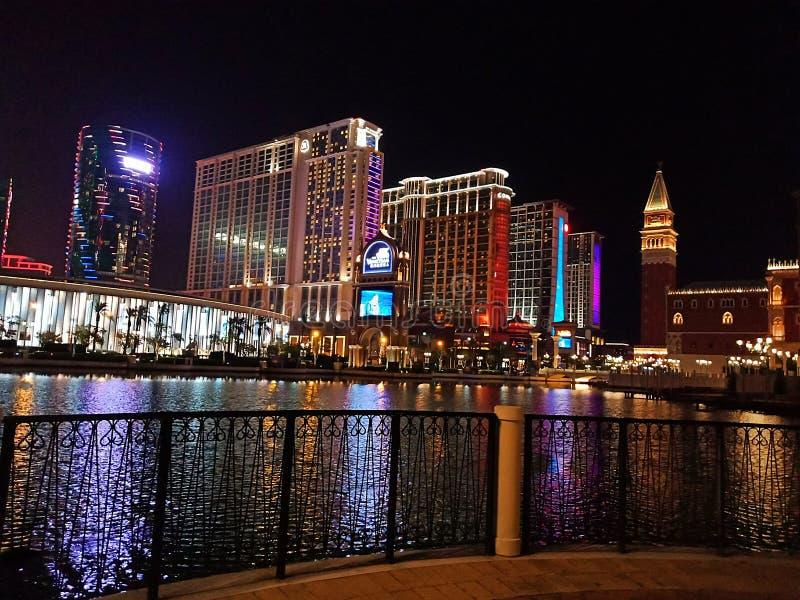 Macau na noite fotografia de stock royalty free