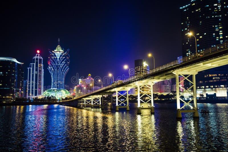 Macau night. Macau city at night royalty free stock photo