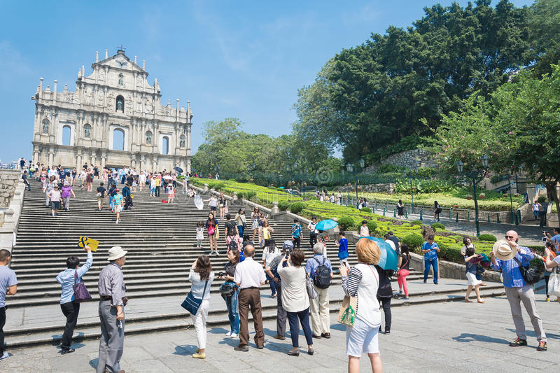 Macau - Oct 16, 2015: Ruins of St. Paul's. Built from 1602 to 16 royalty free stock photography