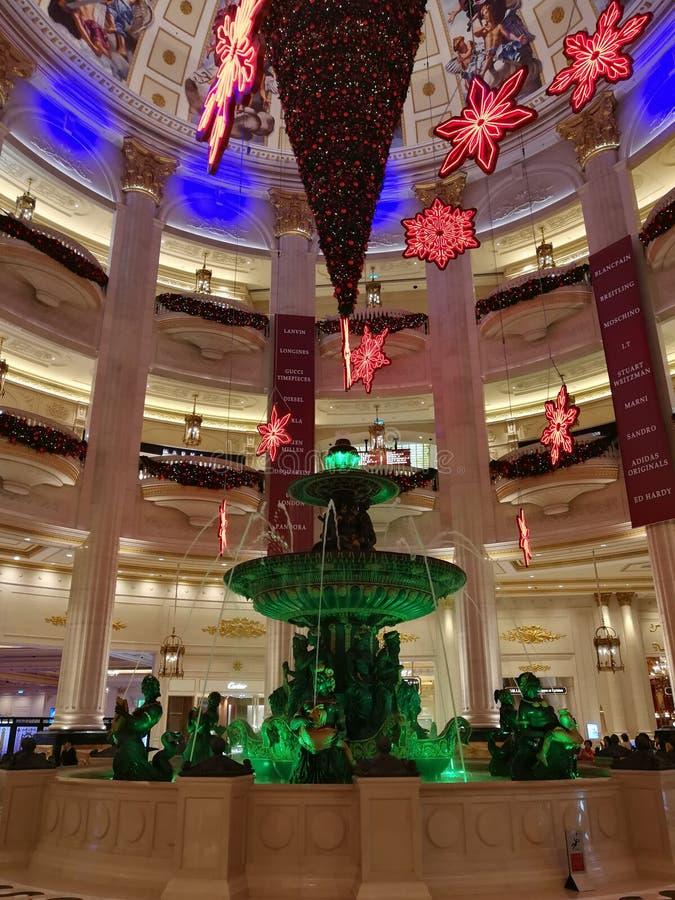 Macau Paryjska Hotelowa do góry nogami choinka 2018 zdjęcie stock