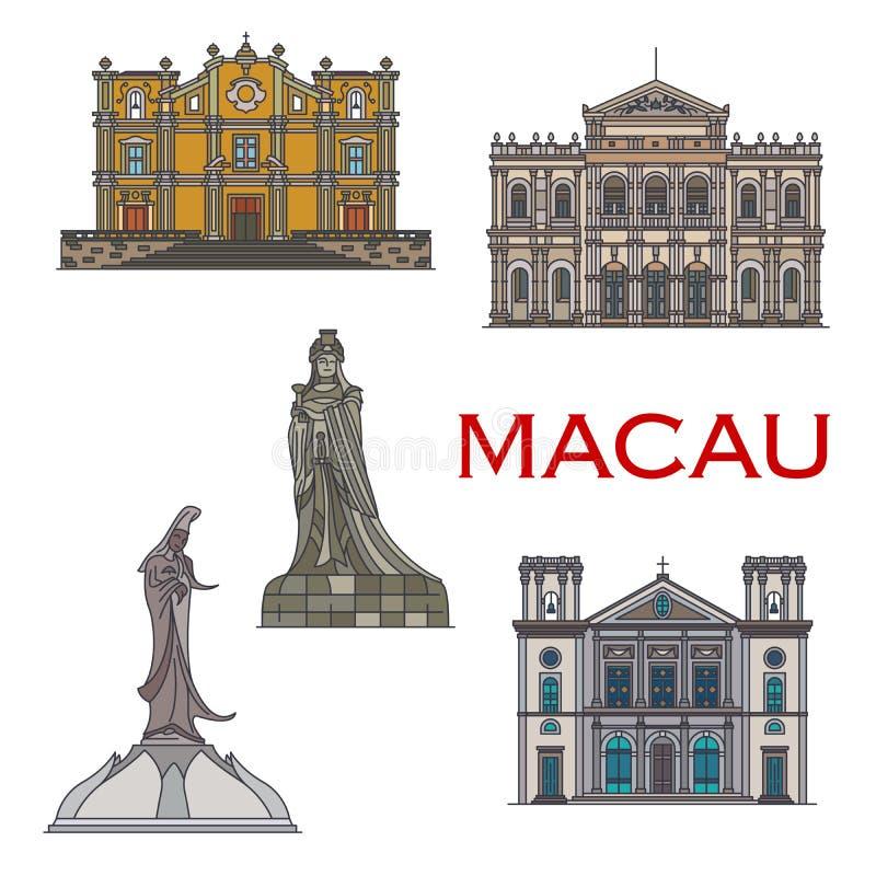 Macau podróży punkty zwrotni Chińscy budynki, statuy ilustracji