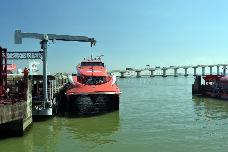 Macau promu terminal i Turboodrzutowe łodzie zdjęcia royalty free