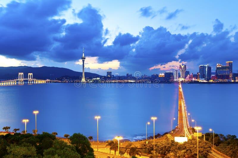 Macau przy nocą zdjęcie stock