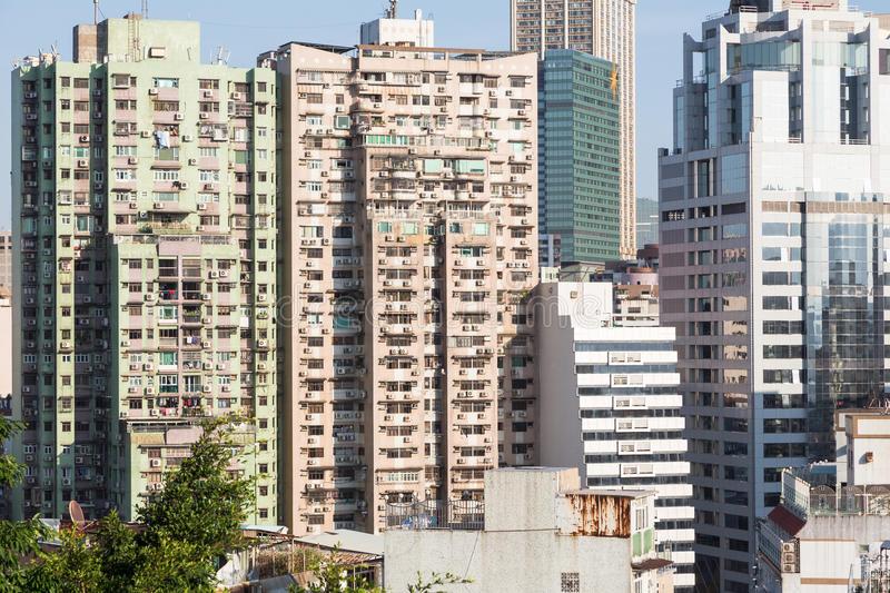 Macau residential high density. Macau island has a very high population density reflected in the very crowded residential area stock photo
