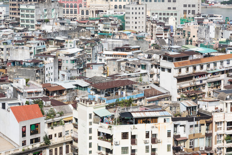 Macau residential high density. Macau island has a very high population density reflected in the very crowded residential area stock image