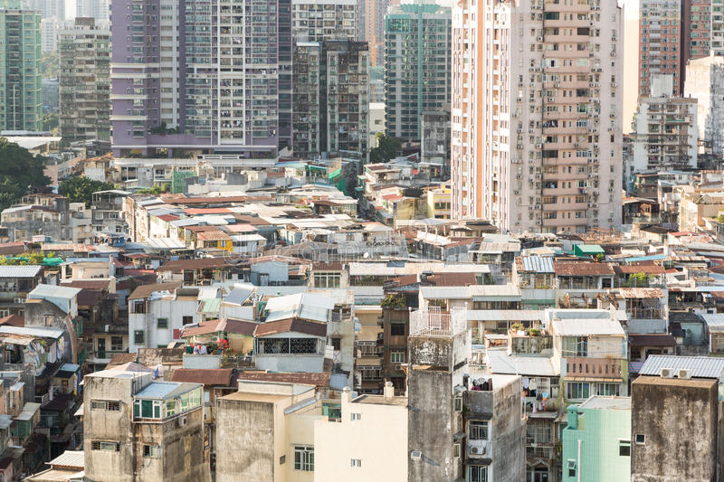 Macau residential high density. Macau island has a very high population density reflected in the very crowded residential area royalty free stock photo