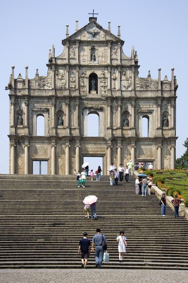 Macau - rovine della cattedrale di Sao Paulo fotografia stock