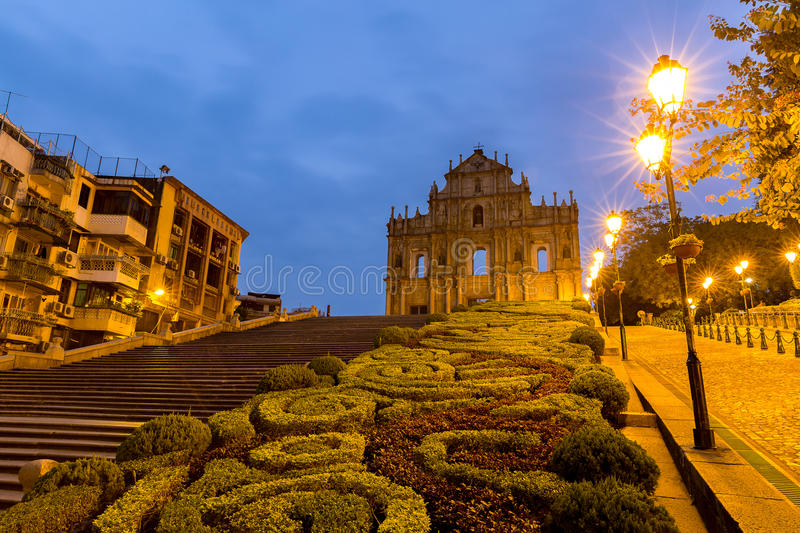 Macau Ruins of St. Paul`s. Built from 1602 to 1640, one of Macau`s best known landmarks. In 2005, they were officially listed as part of the Historic Centre of royalty free stock photos