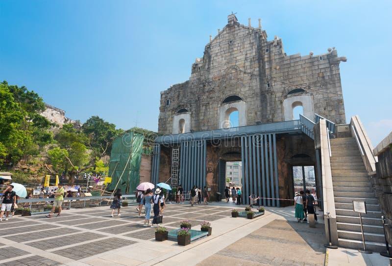 Ruins of St. Pauls church in Macau royalty free stock photography