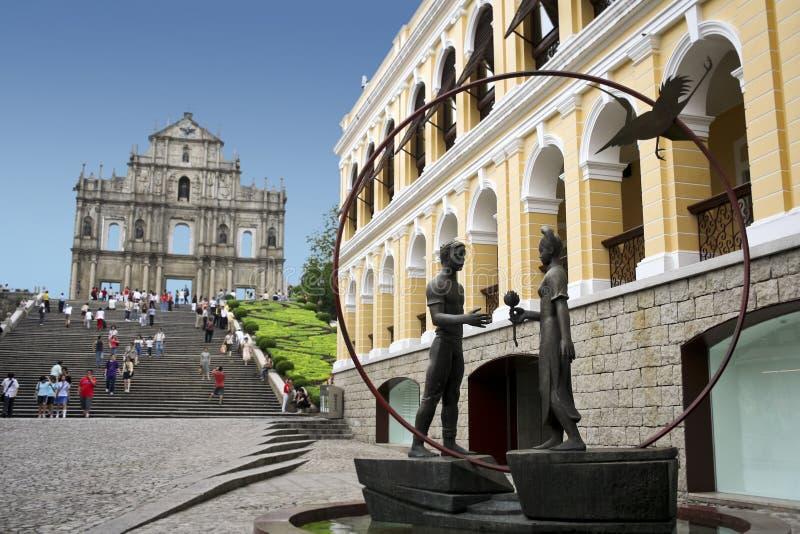 Macau st pauls tourists landmarks stock photo
