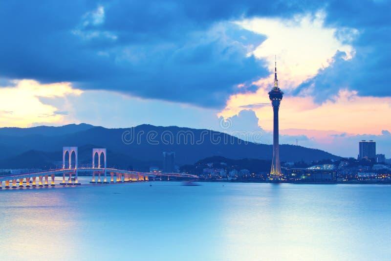Macau zmierzch zdjęcia royalty free