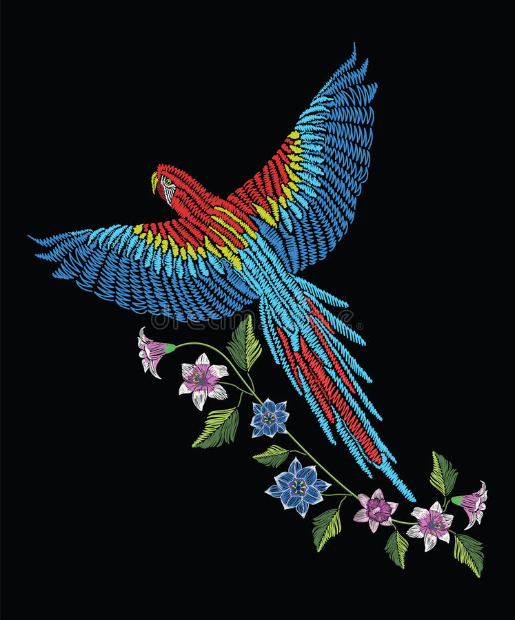 Macaw ara parrot with narcissus, tulip anfd lily flower. Embroidery stitches stylized vector illustration. Traditional floral pat royalty free illustration