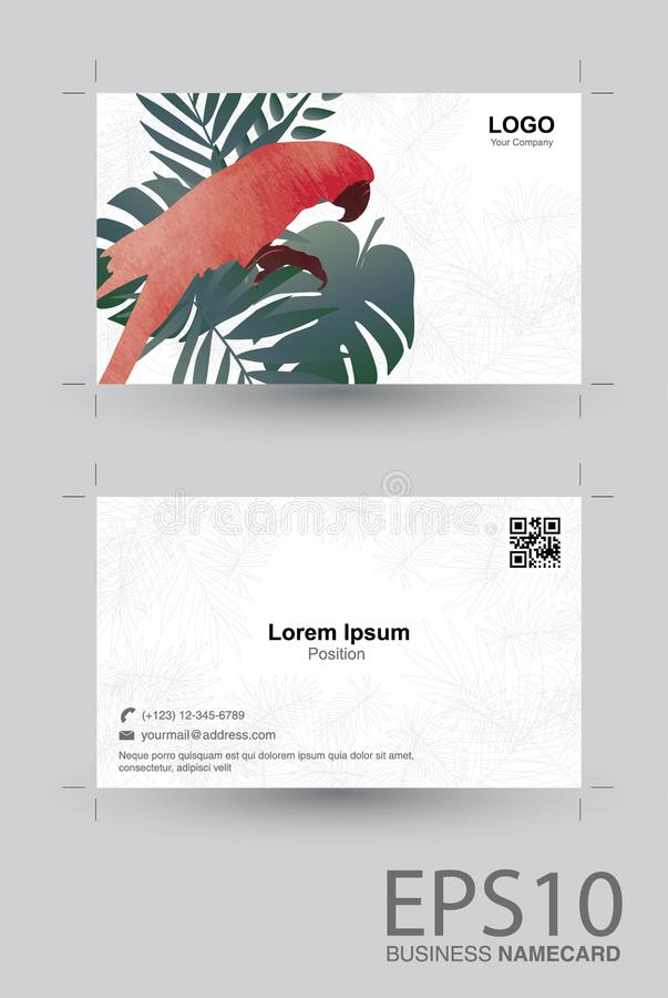 Macaw bird and tropical green leaf namecard pattern background royalty free illustration