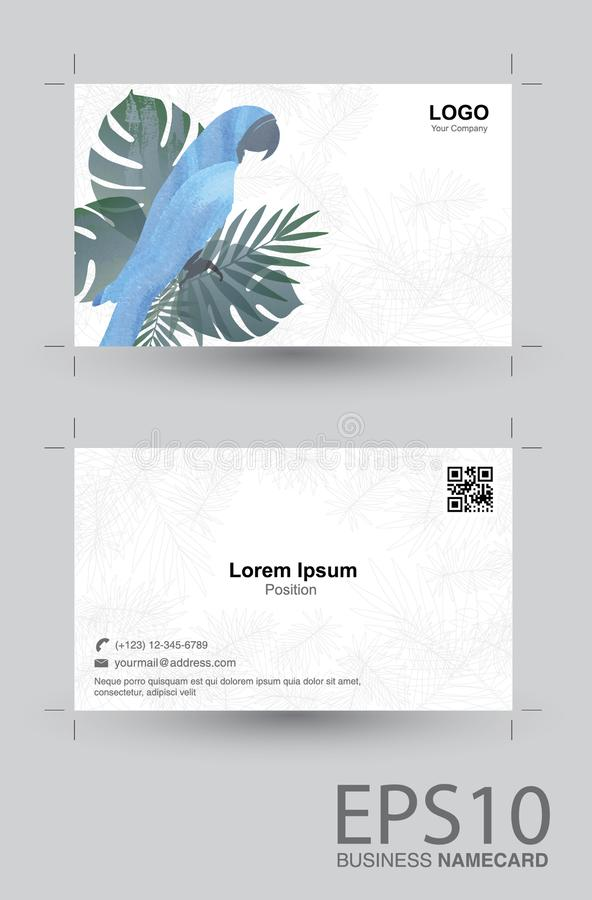 Macaw bird and tropical green leaf namecard pattern background vector illustration
