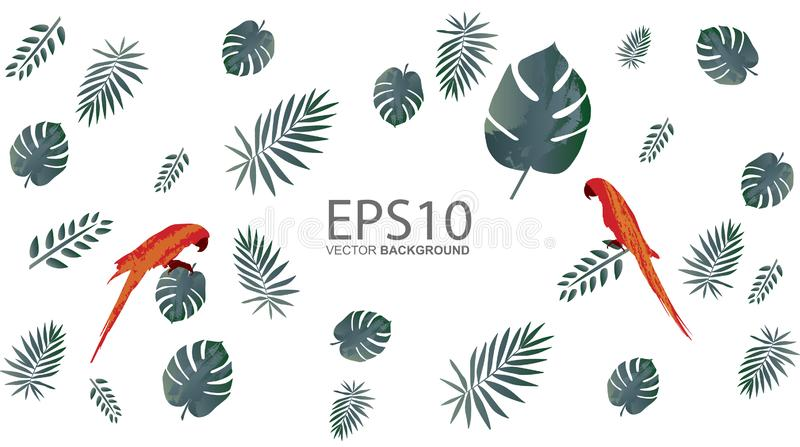 Macaw bird and tropical green leaf pattern background royalty free illustration