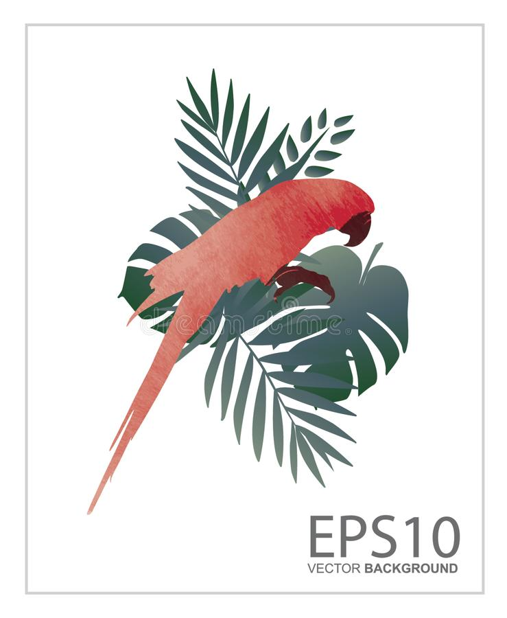 Macaw bird and tropical green leaf pattern background vector illustration