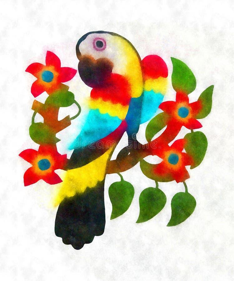 Macaw, colores de agua que pintan el macaw imágenes de archivo libres de regalías