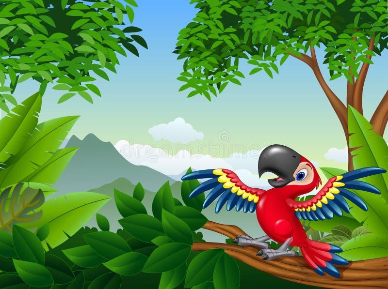 Macaw de la historieta en la selva stock de ilustración