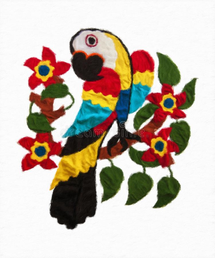 Macaw, macaw de la pintura al óleo foto de archivo libre de regalías