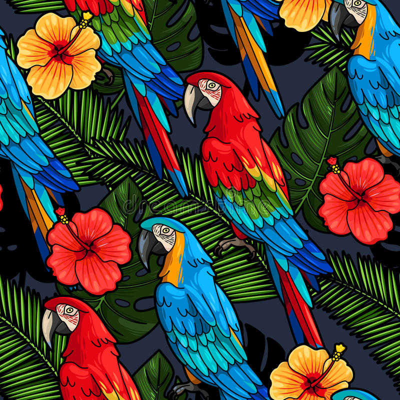 Macaw and hibiscus seamless royalty free illustration
