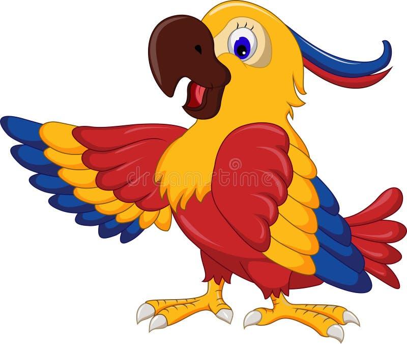 Macaw wing bird cartoon posing. Illustration of Macaw wing bird cartoon posing royalty free illustration
