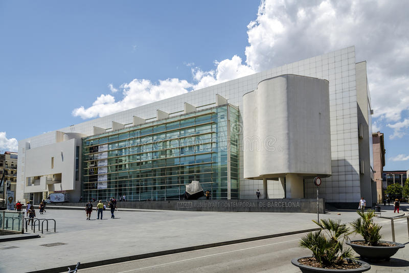 MACBA in Barcelona. BARCELONA - JUNE 26, 2014: MACBA Museo De Arte Contemporaneo in Barcelona, Spain. Build in 1995 by Richard Meier, set in the square of angels royalty free stock images