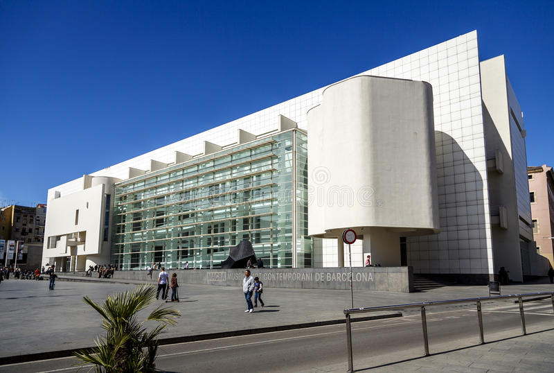 MACBA in Barcelona. BARCELONA - MARCH 23: MACBA on March 23, 2014 in Barcelona, Spain. Build in 1995 by American architect Richard Meier, set in the square of stock photo