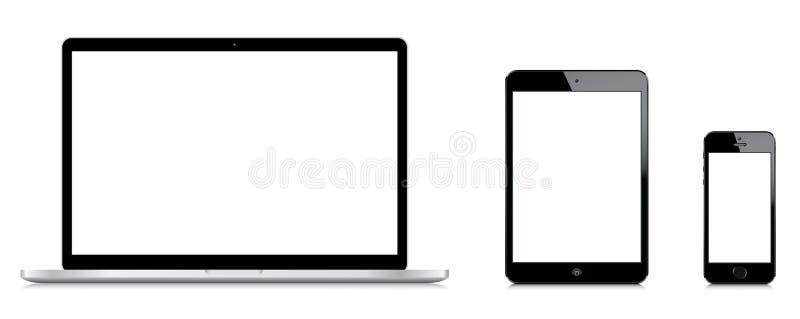 Macbook赞成的iPad和iPhone 5s比较微型 皇族释放例证