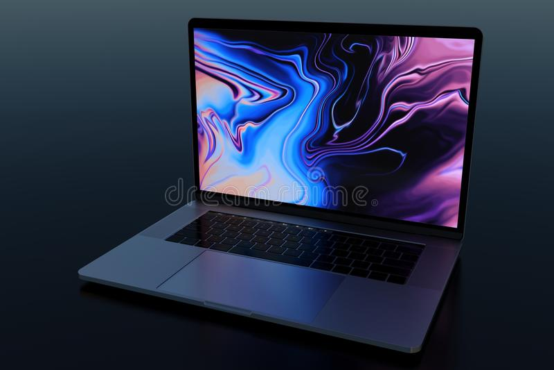 MacBook赞成15'在黑暗的场面的相似的便携式计算机 免版税库存图片