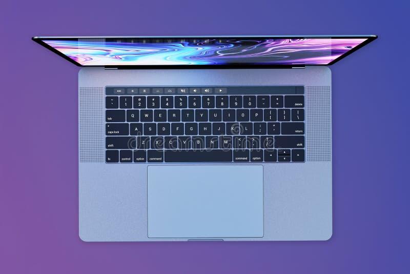 MacBook赞成15英寸样式便携式计算机,顶视图 皇族释放例证