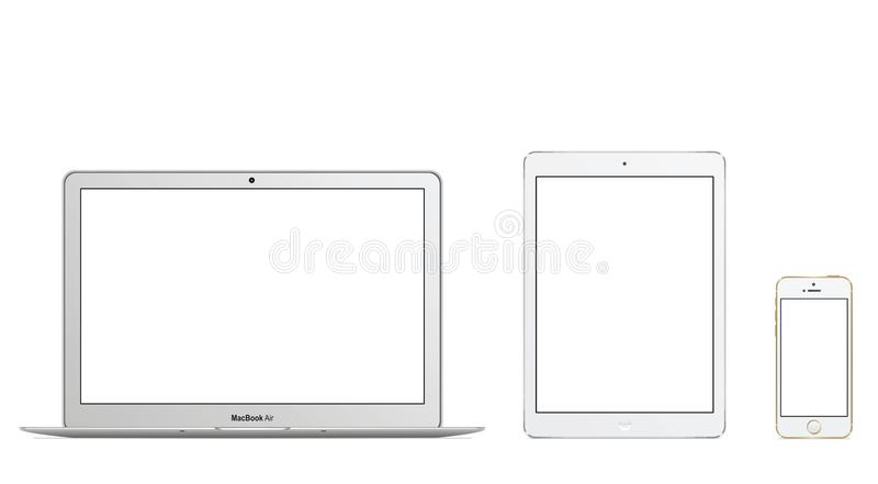 MacBook Air Ipad Air Iphone 5s vector illustration
