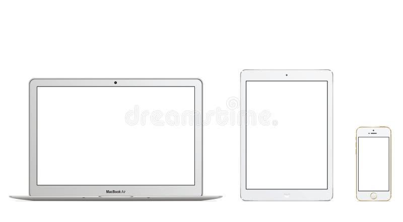 MacBook Air Ipad Air Iphone 5s. Apple MacBook Air Ipad Air Iphone 5s vector illustration eps 10