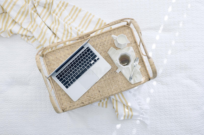 Macbook Beside Coffee Cup On Beige Woven Tray Free Public Domain Cc0 Image