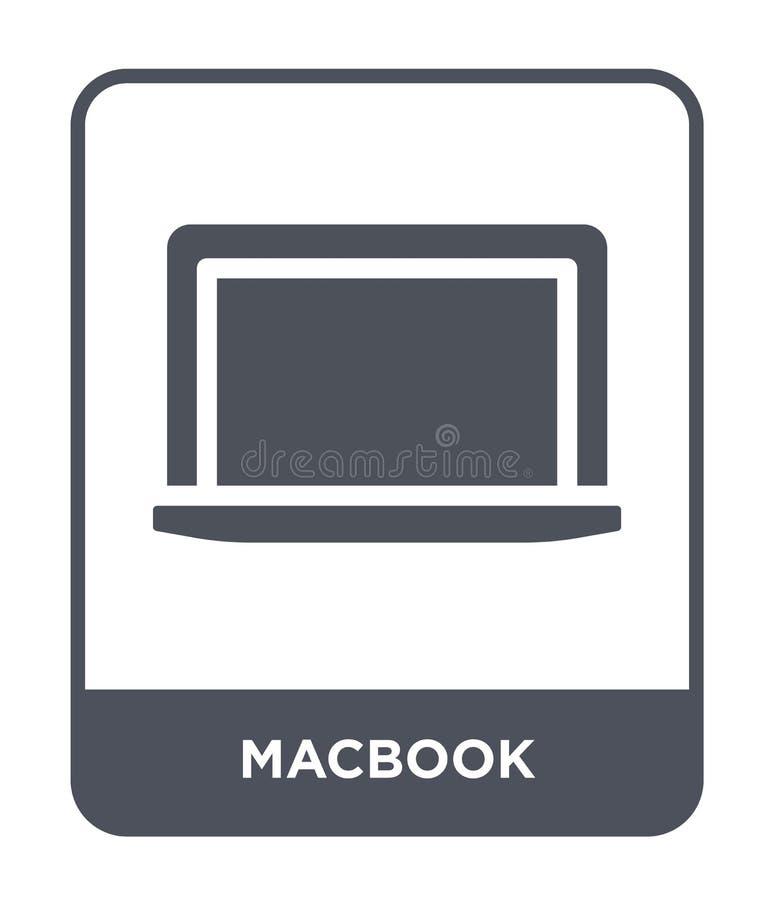 macbook pictogram in in ontwerpstijl macbook pictogram op witte achtergrond wordt geïsoleerd die macbook vectorpictogram eenvoudi royalty-vrije illustratie