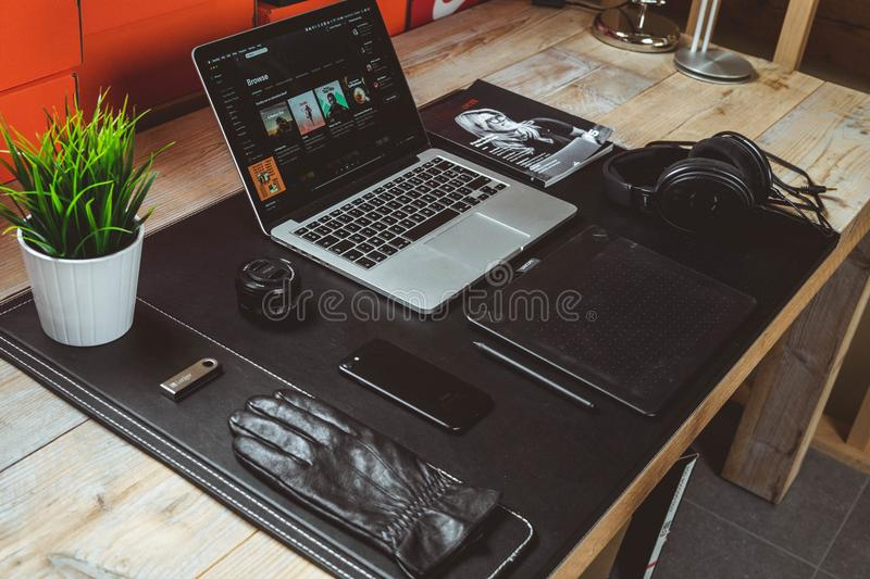 Macbook Pro on Desk stock photo