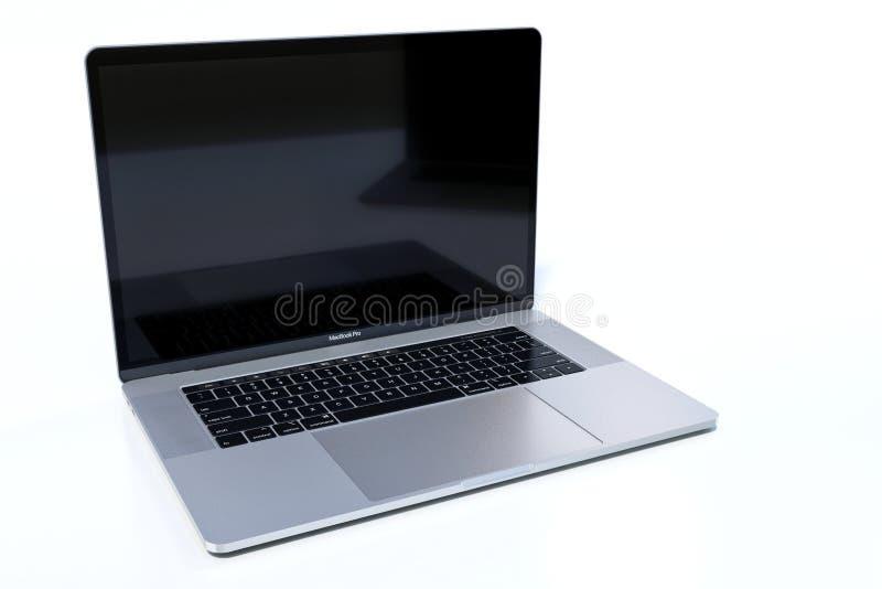 MacBook Pro 15 duimlaptop computer witte achtergrond stock foto's