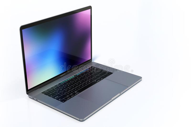 MacBook Pro 15 inch laptop computers colorful scene. MacBook Pro MBP 2018 15 inch Space Grey laptop computer, perspective view on clean white background. Light stock photography