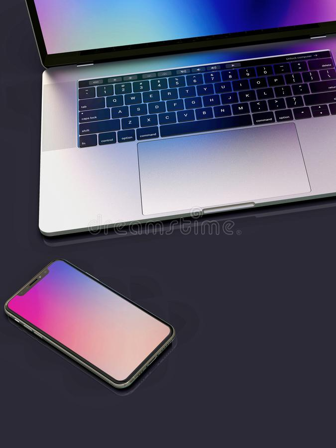 MacBook Pro laptop computer and iPhone on desk vector illustration