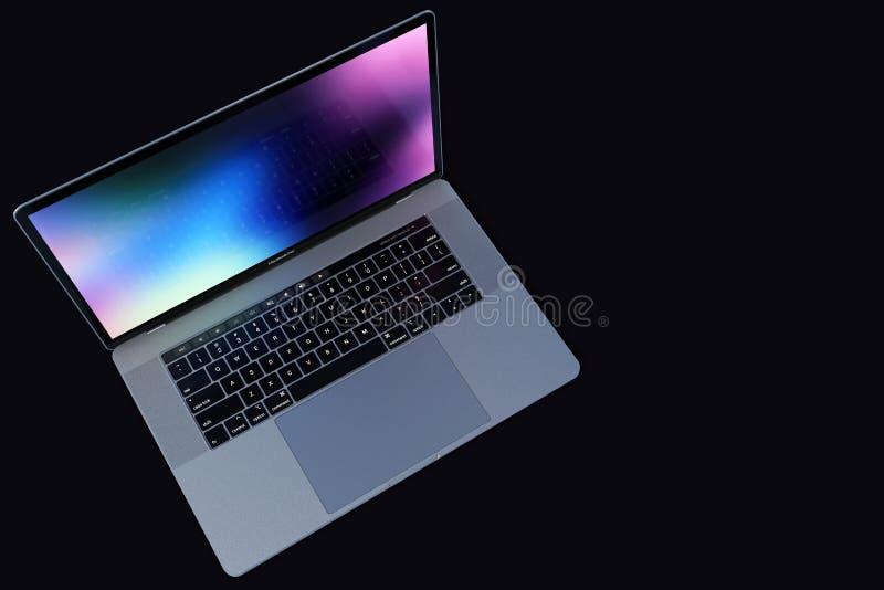 MacBook Pro 15 laptopu zmroku calowy tło zdjęcie stock