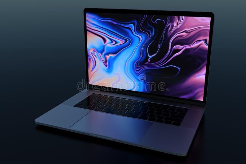 MacBook Pro 15`` similar laptop computer in dark scene. Laptop computer, design similar to MacBook Pro 15 inch, 2018, Space Grey. Dark scene, glowing screen royalty free stock images